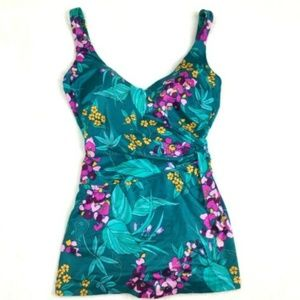 Vintage Bright Floral One Piece Skirted Swimsuit M